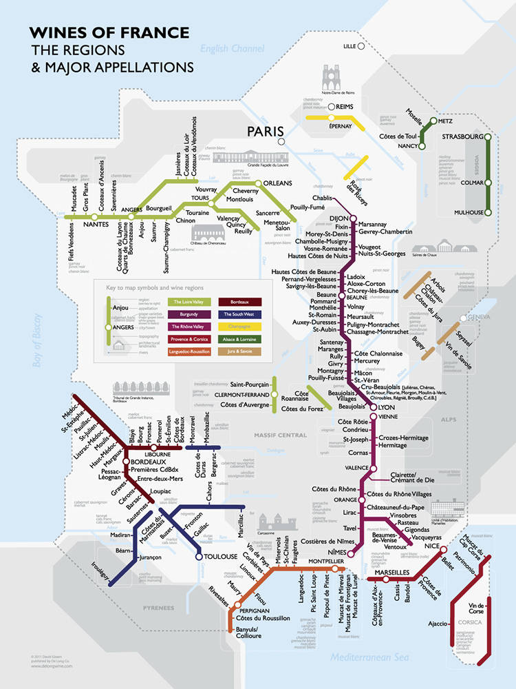 Metro Wine Map Of France