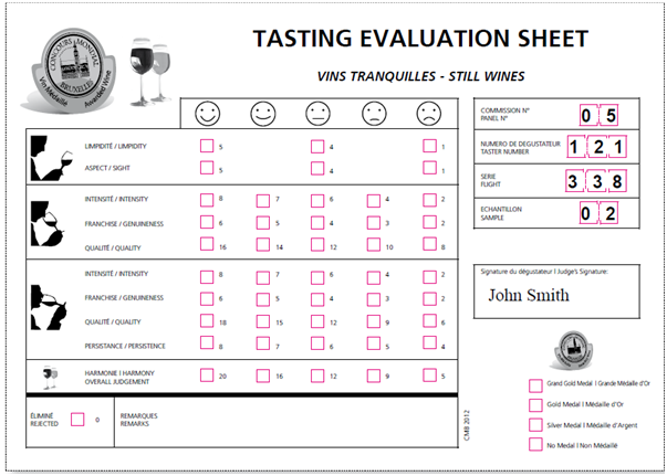 The tasting score sheet the amherst wine project wine for Wine tasting sheet template
